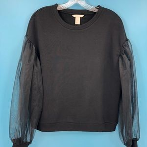 H&M Women's M Black Sweatshirt with Tulle Sleeves